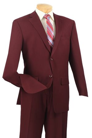 Executive Suit Men's Burgundy Texture Regular Fit Vinci 2LK-1