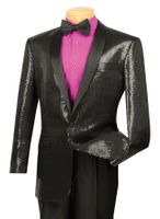 Vinci Mens Black Sequin Blazer Shawl Collar Stage Singer BSQ-1
