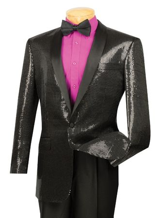 Mens Black Sequin Jacket Shawl Collar Entertainer Vinci BSQ-1