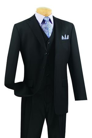 Vinci Black 3 Piece Suit Mens Wool Touch Super 150s 3TR-3