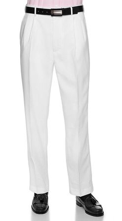 Vinci Mens All White Pleated Dress Pants OP-900