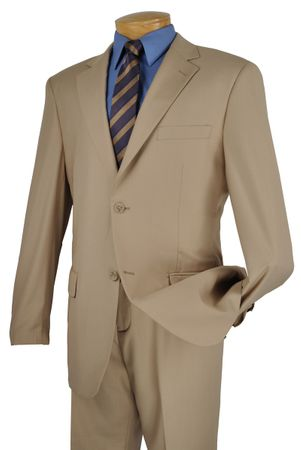 Business Suit for Men Solid Beige Front Pants Vinci 2C900-2
