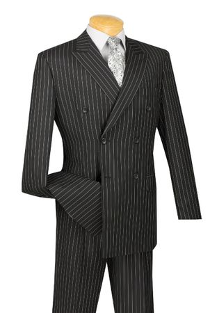 Vinci Men's Black White Stripe Double Breasted Suits 1930s DSS-4