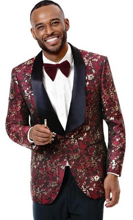 Tuxedo Blazer Men's Wine Gold Fancy Pattern EJ Samuel J68