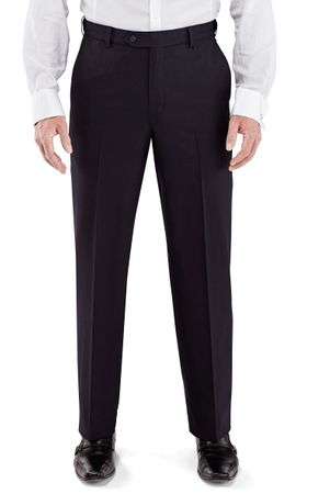 Vinci Mens Black Flat Front Dress Pants ON-900