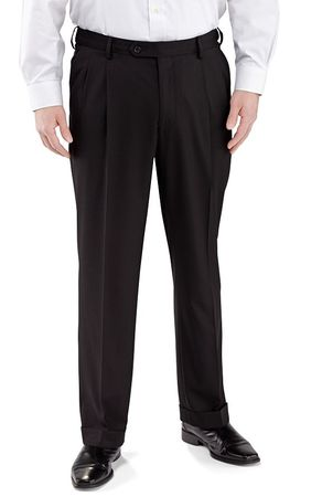 Vinci Mens Black Pleated Dress Pants Suit Pants Super 150s OP-900
