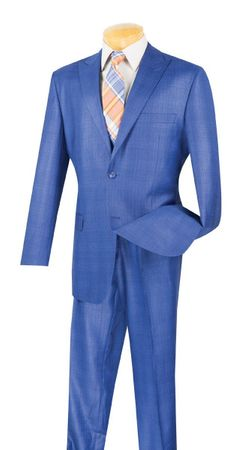 Plaid Suit for Men Blue Regular Fit Flat Front Pants Vinci 2RW-1
