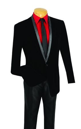 Vinci Mens Black Velvet Blazer Removable Scarf B-17  - click to enlarge