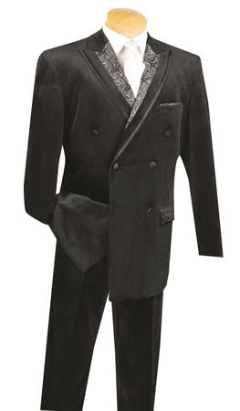 Vinci Men's Black Velvet Suit Double Breasted F2DG-1 - click to enlarge