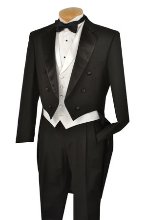Vinci Mens Black with White Vest Tuxedo with Tails T-2X