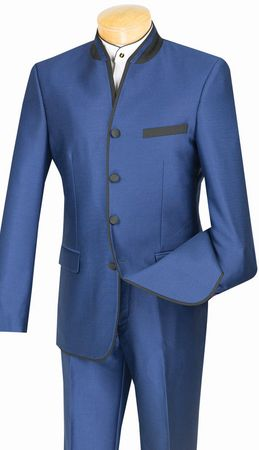 Vinci Mens Blue Mandarin Collar Suit Slim Fit S4HT-1