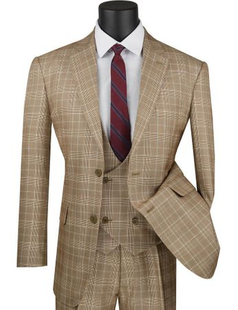 Mens 1930s Camel Plaid 3 Piece Suit Three Piece Low Cut Vest Vinci V2RW-7