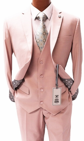 Stacy Adams 3 Piece Suit Pink Flat Front Bud Vest 5944-025 Size 46 Reg Final Sale - click to enlarge