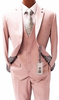 Stacy Adams 3 Piece Suit Pink Flat Front Bud Vest 5944-025 Size 46 Reg Final Sale