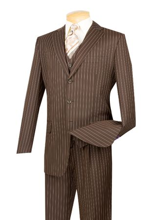 Vinci Mens Brown Banker Stripe 3 Piece Suit V3RS-9