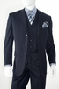 3 Button Wool Navy Pinstripe 3 Piece Suit by Alberto 3BVP-1