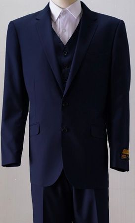 Mens 2 Button Style Wool Navy 3 Piece Suits Alberto 2BV1P