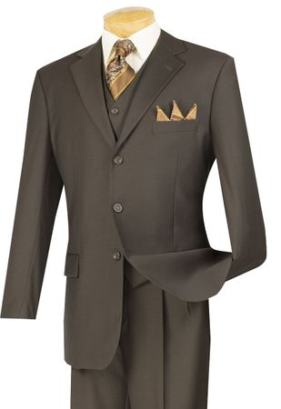 Vinci Mens Brown Wool Touch Super 150's 3 Piece Suit 3TR-3 - click to enlarge