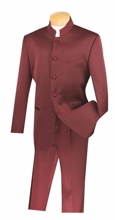 Vinci Men's Burgundy Chinese Collar Suit 5 Button N5HT - click to enlarge
