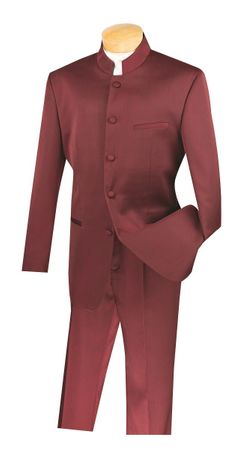Vinci Men's Burgundy Chinese Collar Suit 5 Button 5HT