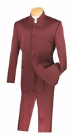 Vinci Mens Burgundy Chinese Collar Suit 5 Button 5HT