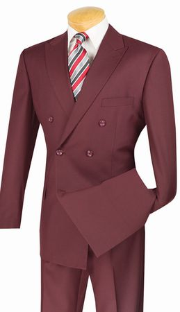 Vinci Men's Burgundy Double Breasted Suit Wool Feel DC900-1