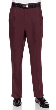 Vinci Mens Burgundy Wine Pleated Dress Pants OP-900