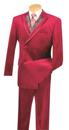 Vinci Men's Burgundy Wine Velvet Suit Double Breasted F2DG-1 - click to enlarge