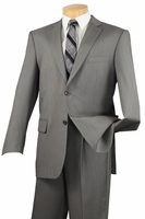 Slim Fit Suit Mens Solid Gray Italian Style 2 Button Vinci SC900-12 Size 46 Long Final Sale