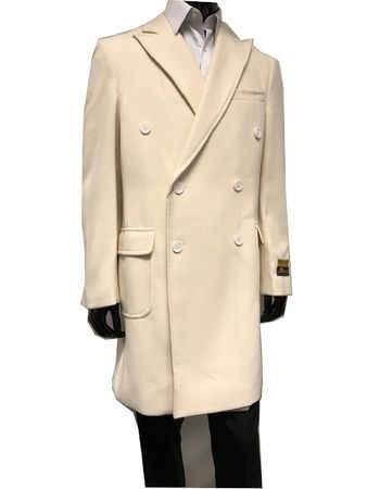 Men's Double Breasted Wool Cashmere Coat Knee Length Cream Alberto Manhattan IS - click to enlarge