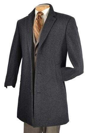Vinci Mens Knee Length Charcoal Wool Topcoat CS38-1 Size 56L Final Sale - click to enlarge