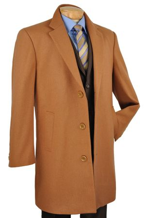 Vinci Mens Car Length Vicuna Rust Cashmere Blend Topcoat CS38-1 - click to enlarge