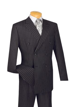 Double Breasted Gangster Suit Men's Black Stripe Vinci DSS-4