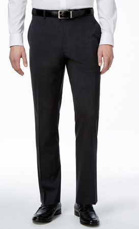 Vinci Mens Charcoal Gray Flat Front Pants ON-900
