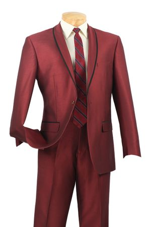 Vinci Men's Night Time Maroon 1 Button Rounded Collar Slim Fit Suit SSH-1
