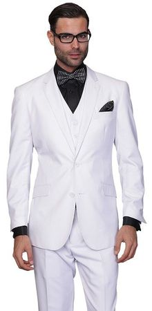 Statement 100% Wool Tailored Fit White 3 Piece Suit STZV-100 Size 44L Final Sale
