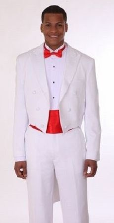 Mens White Tuxedo With Tails Pleated Pants Milano Moda T505 Size 42 Long Final Sale