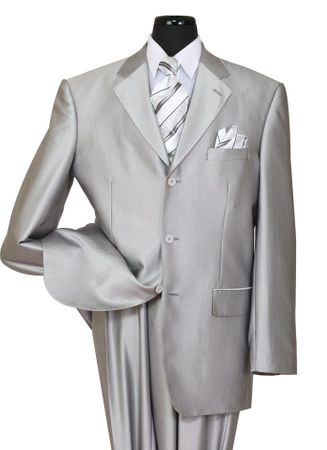 Mens Shiny Gray Sharkskin Suit Milano 58025 Size 46R  Final Sale