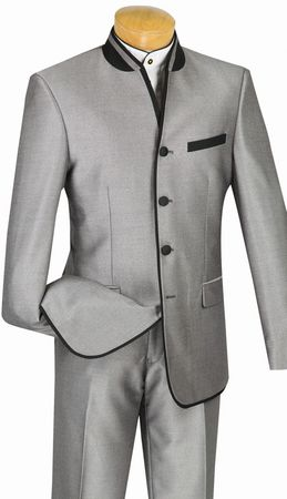 Vinci Mens Gray Mandarin Collar Suit Slim Fit S4HT-1