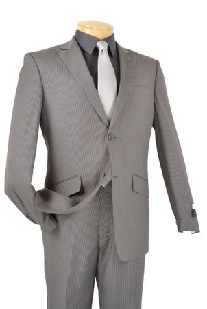 Vinci Men's Gray Narrow Stripe Slim Fitted Suit S2RS-3 - click to enlarge
