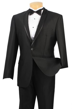 Vinci Men's Black 1 Button Shawl Collar Slim Fit Suit SSH-1