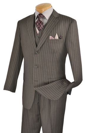 Vinci Mens Gray Banker Pinstripe Three Piece Suit V3RS-9