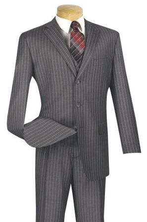 Vinci Mens 1940s Gray Banker Pinstripe Three Piece Suit V3RS-9