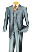 Vinci Mens Gray Shiny Sharkskin 3 Piece Suit V3RR-4 Size 42 Reg Final Sale