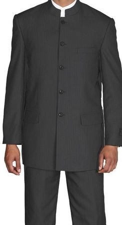 Fortini Mens Black Stripe Mandarin Chinese Style Collar Suit 925H Size 42 Reg Final Sale