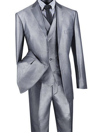 Men's Tailored Fit Gray Sharkskin Suit with Slant Vest Vinci MV2R-1