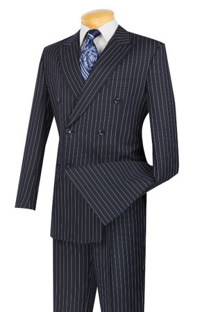Vinci Men's Navy Blue 1930s Banker Stripe Double Breasted Suits DSS-4