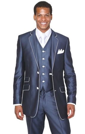 Milano Moda Slim Fit Type Young Mens Navy Shiny 3 Piece 5702V1 - click to enlarge