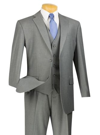 Vinci Mens Medium Gray 3 Piece Suit Flat Front Pants V2TR - click to enlarge