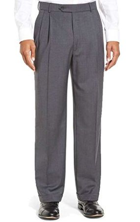Vinci Mens Medium Gray Pleated Suit Slacks Dress Pants OP-900